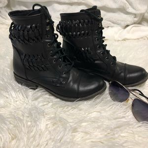 Nine West |combat boots|color:black|size:6 1/2
